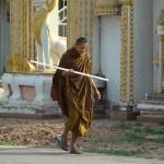 Monk walking home