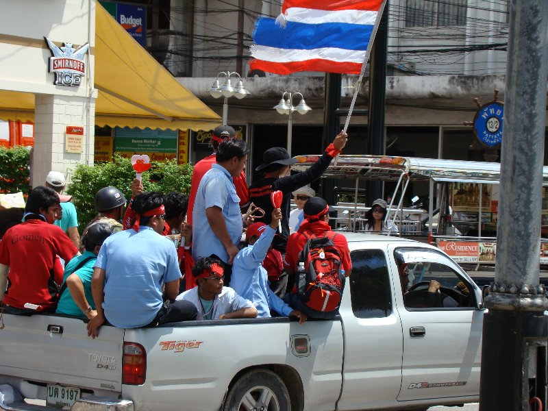 Red shirt protesters on Beach road in Pattaya, Thailand