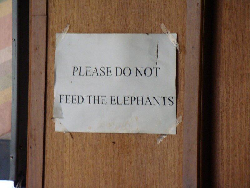 Signage posted at Dynasty Inn Hotel in Bangkok