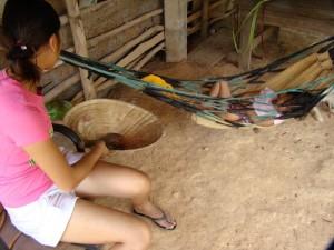 Relaxing under the family house in Nakhon Phanom