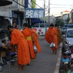 The receiving line of Buddhist monks