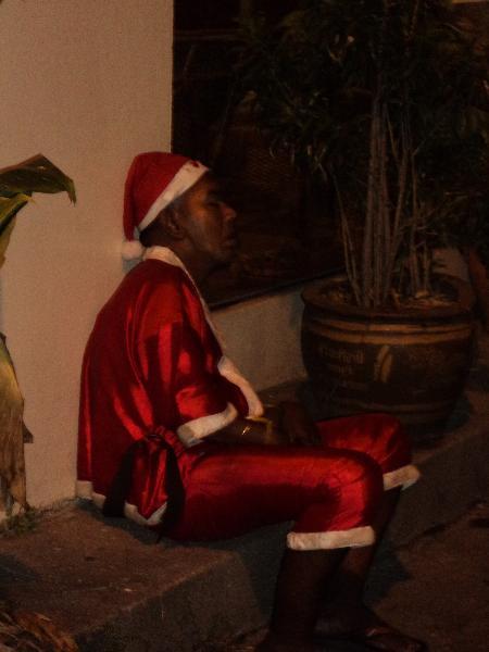 Santa Claus in Pattaya sleeping it off